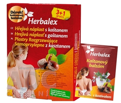 Herbalex Hrejivá náplasť s gaštanom 3+1 grátis (4 ks) + darček (bedrový pás+ gaštanový gél), 1x1 set
