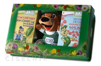 FYTO Detská darčeková kazeta s hračkou (ovocný čaj Malina 20x2 g + čierny čaj bez kofeínu 20x1,5 g) 1x1 set