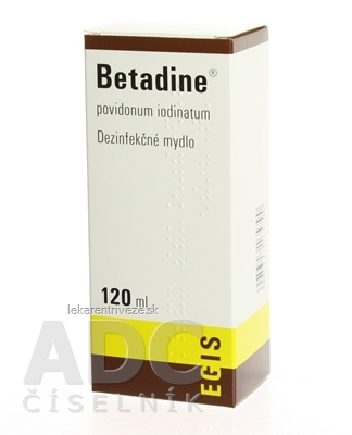 Betadine dezinfekčné mydlo 75 mg/ml sol der (fľ.plast.hnedá) 1x120 ml