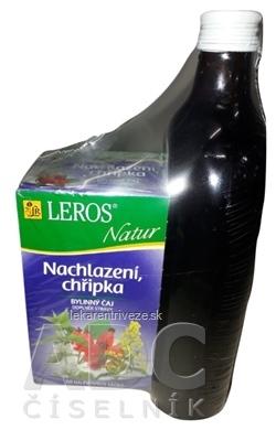 LEROS ŠŤAVA Šípka+4 byliny + Natur Prechladnutie šťava 500 ml + čaj vrecúška 20x1,5 g (30 g) 1x1 set