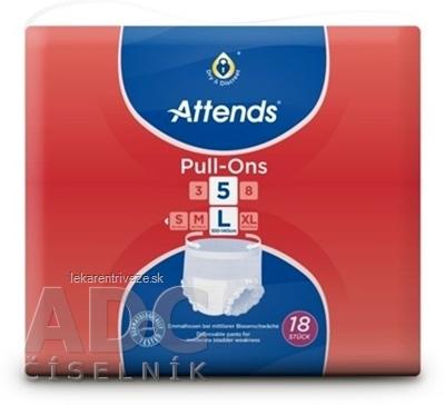 ATTENDS Pull-Ons 5 L elastické inkontinenčné nohavičky, savosť 2099 ml, obvod bokov 100-140 cm, 1x18 ks