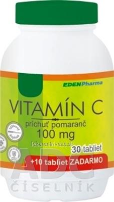 EDENPharma VITAMÍN C 100 mg príchuť pomaranč tbl 30+10 zadarmo (40 ks)