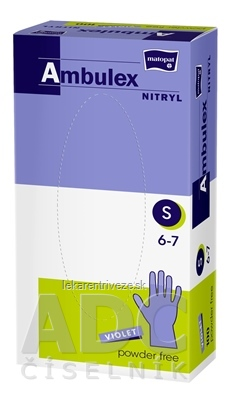 Ambulex rukavice NITRYLOVÉ veľ. S, fialové, nesterilné, nepúdrované, 1x100 ks