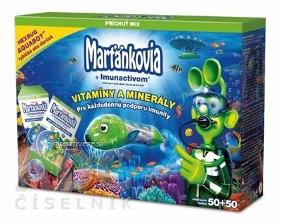WALMARK Marťankovia s Imunactivom cmúľacie tablety, príchuť Mix, 50+50 (100 ks) + rybička zadarmo, 1x1set