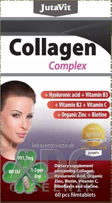 JutaVit Kolagén komplex + kyselina hyalurónová, vitamíny B3, B2, C + organický zinok a biotín tbl 1x60 ks