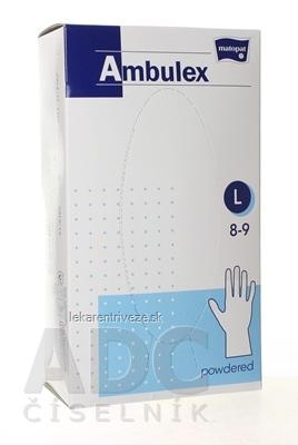 Ambulex rukavice LATEXOVÉ veľ. L, nesterilné, pudrované 1x 100 ks