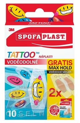3M SPOFAPLAST č.115P Náplasti VODEODOLNÉ TATTOO (detské, mix, 10 ks + Gratis Max Hold 2 ks) 1x12 ks
