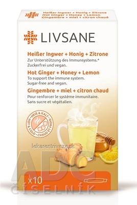 LIVSANE Horúci zázvor + med + citrón vrecúška, prášok na prípravu nápoja 1x10 ks