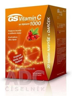 GS Vitamín C 1000 so šípkami darček 2020 tbl 100+20 navyše (120 ks)