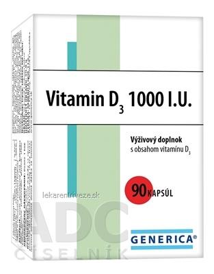 GENERICA Vitamin D3 1000 I.U. cps 1x90 ks