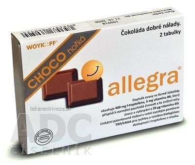 allegra CHOCO horká čokoláda, tabuľky (žuvacie tablety) 1x2 ks