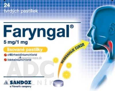 Faryngal 5 mg/1 mg lisované pastilky pas ocp 5 mg/1 mg (blis.PVC/PCTFE/Al) 1x24 ks