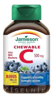 JAMIESON VITAMÍN C 500 mg čučoriedka tbl na cmúľanie, 100+20 zadarmo (120 ks)