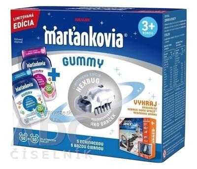 WALMARK Marťankovia GUMMY želatínové tablety (s echinaceou 50 + s bazou čiernou 50) (100 ks) + darček kozmochrobák, 1x1 set