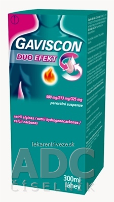 GAVISCON DUO EFEKT Perorálna suspenzia sus por (fľ.skl.jantár.+odmerka) 1x300 ml