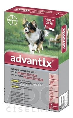 Advantix Spot-on pre psy od 10 do 25 kg (1 pipeta) 1x2,5 ml