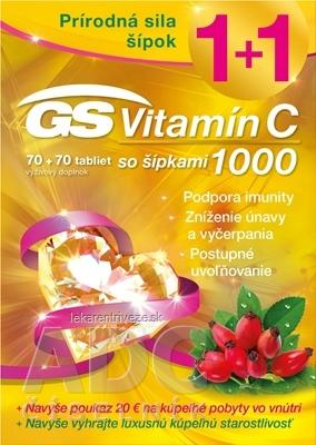GS Vitamín C 1000 so šípkami + darček 2018 tbl 70+70 (140 ks) + darčekový poukaz, 1x1 set