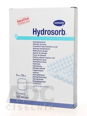 HYDROSORB kompres absorpčný hydrogélový, bez samolepiaceho okraja (5x7,5 cm) 1x5 ks