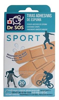 Dr. SOS ŠPORT náplasť prúžky mix vodeodolné (72x19mm) 1x20 ks