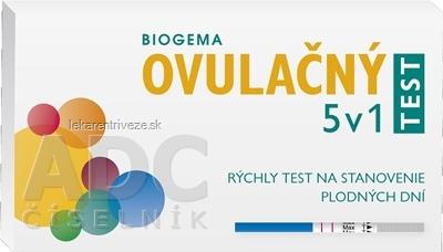BIOGEMA OVULAČNÝ TEST 5 v 1 rýchly test na stanovenie plodných dní, samodiagnostický 1x5 ks