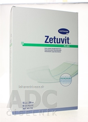 ZETUVIT Plus kompres nasiakavý sterilný (15x20 cm) 1x10 ks