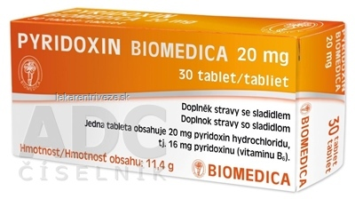 PYRIDOXIN BIOMEDICA 20 mg tbl 3x10 ks (30 ks)