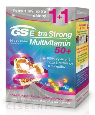 GS Extra Strong Multivitamín 50+ + darček 2018 tbl 60+60 (120 ks) + darčekový poukaz, 1x1 set