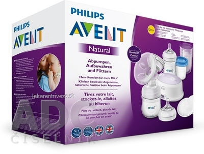 AVENT Elektr.odsávačka mlieka Natural 2 sada (odsávačka +10ks VIA pohárik 180 ml + fľaša 260ml) 1x1 set