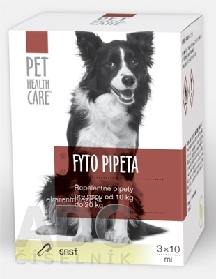 PET HEALTH CARE FYTO PIPETA repelentná, pre psov od 10 kg do 20 kg, 3x10 ml