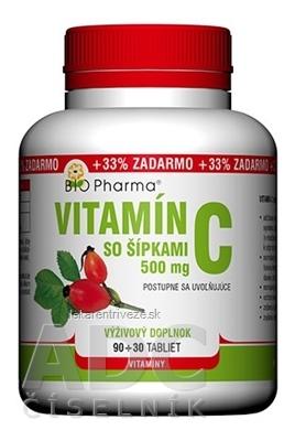 BIO Pharma Vitamín C so šípkami 500 mg tbl 90+30 (33% ZADARMO) (120 ks)