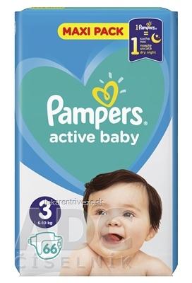 PAMPERS active baby Maxi Pack 3 Midi detské plienky (6-10 kg)(inov.2018) 1x66 ks