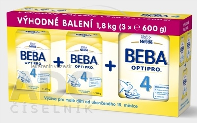 BEBA OPTIPRO 4 - Trojbalenie mliečna výživa pre batoľatá (od ukonč. 15. mesiaca) 3x600 g (1,8 kg), 1x1 set