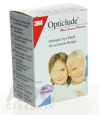 3M Opticlude Standard Mini Očná náplasť [SelP] 5x6 cm, ortoptická, na liečbu strabizmu 1x20 ks