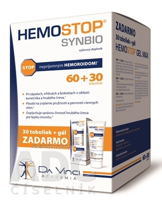 HEMOSTOP SYNBIO - DA VINCI cps 60+30 zadarmo (90 ks) + gél 75 ml zadarmo, 1x1 set