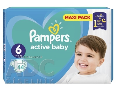 PAMPERS active baby Maxi Pack 6 ExtraLarge detské plienky (13-18 kg)(inov.18) 1x44 ks