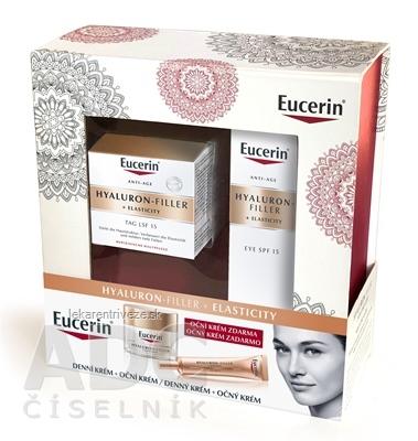 Eucerin HYALURON-FILLER+ELASTICITY Denný krém 50 ml + očný krém 15 ml zadarmo, 1x1 set