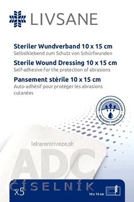 LIVSANE Náplasť sterilná na rany 10x15 cm, 1x5 ks