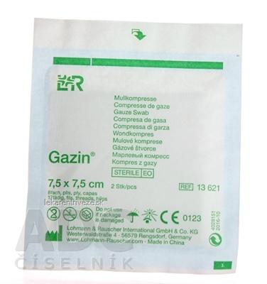 GAZIN KOMPRESY GÁZOVÉ STERILNÉ 7,5x7,5 cm 8-vrstvové, 1x2 ks