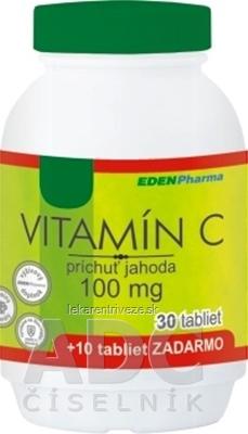 EDENPharma VITAMÍN C 100 mg príchuť jahoda tbl 30+10 zadarmo (40 ks)