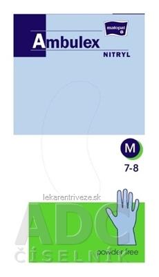 Ambulex rukavice NITRYLOVÉ veľ. M, modré, nesterilné, nepúdrované, 1x100 ks