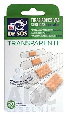 Dr. SOS Transparent náplasť prúžky mix vodeodolné (4 veľkosti) 1x20 ks