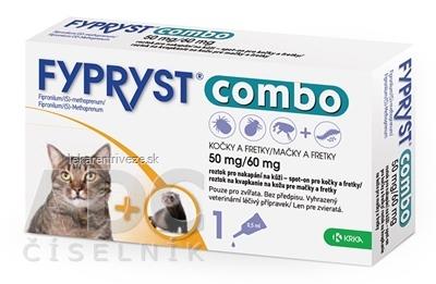 FYPRYST combo 50 mg/60 mg MAČKY A FRETKY roztok na kvapkanie na kožu pre mačky a fretky (pipeta) 1x0,5 ml