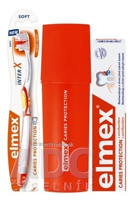 ELMEX CARIES PROTECTION SADA S PÚZDROM zubná pasta 75 ml + zubná kefka 1 ks + puzdro ZDARMA, 1x1 set