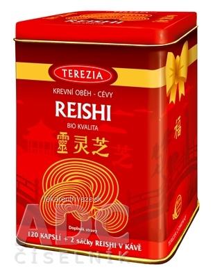 TEREZIA REISHI BIO KVALITA + darček cps 120 + darček (REISHI V KÁVE, 2 vrecúška) v plechovke, 1x1 set