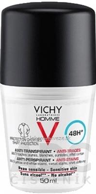 VICHY HOMME DEO ROLL-ON PROTI ŠKVRNÁM 48H antiperspirant na citlivú pokožku 1x50 ml