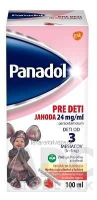 Panadol PRE DETI JAHODA 24 mg/ml sus por (fľ.PET hnedá+dávkovací aplikátor) 1x100 ml