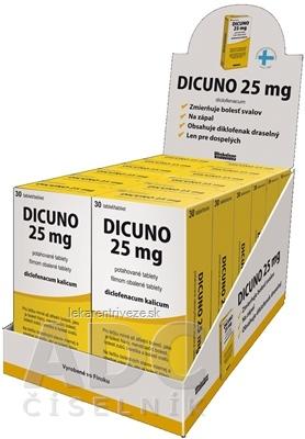 DICUNO 25 mg filmom obalené tablety DISPLEJ tbl flm (ŠÚKL kód: 07459) 12x30 ks, 1x1 set