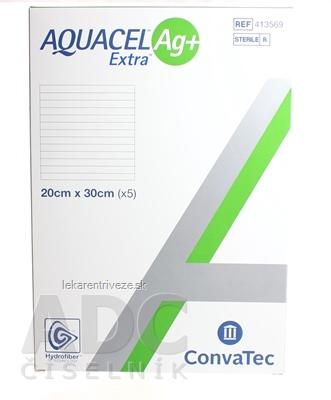 AQUACEL Ag+ Extra krytie na rany so striebrom so zosilneným účinkom, 20x30 cm, 1x5 ks