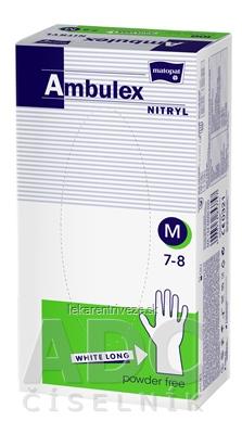 Ambulex rukavice NITRYLOVÉ veľ. M, biele, nesterilné, nepúdrované, 1x100 ks