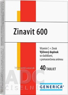 GENERICA Zinavit 600 s pomarančovou arómou tbl (vitamín C + Zinok) 1x40 ks